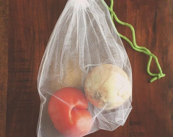Set of 3 White Mesh Reusable Produce Bags, Market Bags, Shopping Bags, Grocery Bags