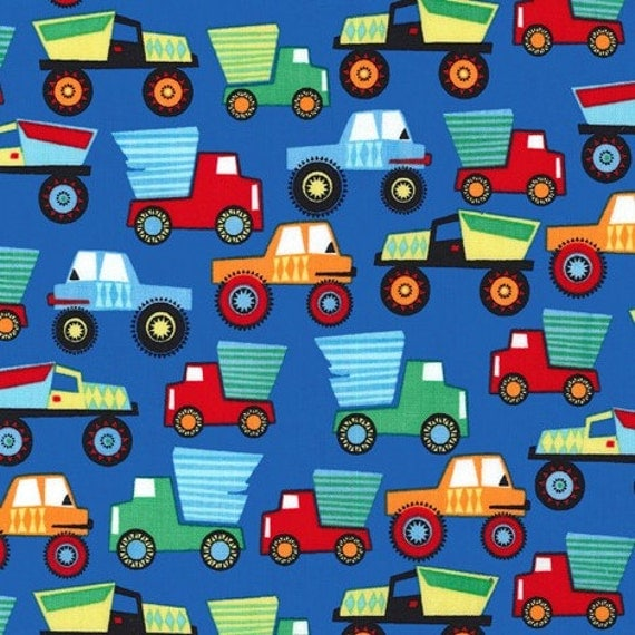 Little movers fabric by michael miller for Little blue truck fabric