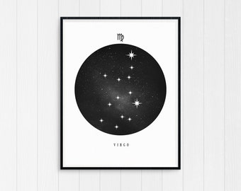 Virgo Print, Virgo Zodiac, Virgo Art, Birthday Gift, Virgo Printable, Virgo Constellation, Horoscope Decor, Digital Download, Virgo Poster