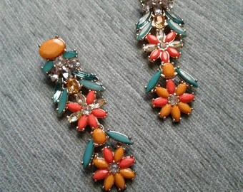Multi Color Jeweled Earrings