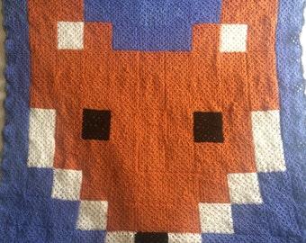 Crocheted Fox Granny Square Throw