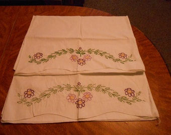 Hand-embroidered Pillowcases with Purple Flowers--Set of 2