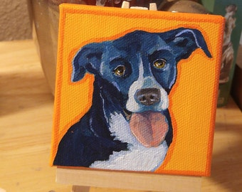 Mini Pet Portrait Painting, Custom Pop Art Dog Portrait From Your Photo, Mini Painting with Easel, 2% Of Proceeds to Children's Hospital