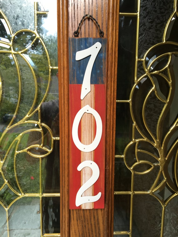 Address Plaque Rustic Home Decor American Flag Address