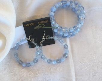Multi Light Blue Czech Glass/ Bracelet & Earrings