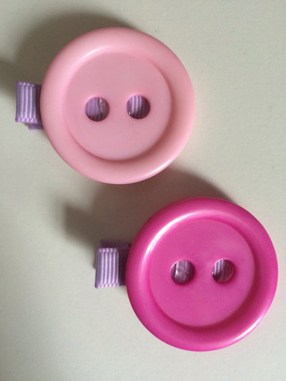 Pink Button Hair Slides - Set of Two