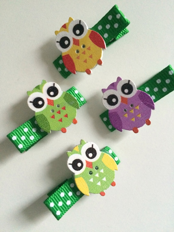 Wooden Owl Hair Slides - Set of Four Ribbon Covered Clips