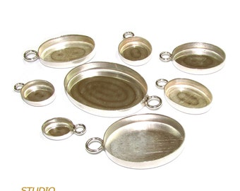 925 Sterling Silver Bezel Cups oval shapes in different sizes