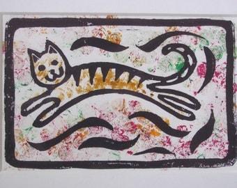 Cat Lino Print