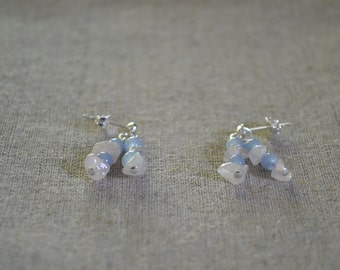 Rose Quartz and Sapphire Glass Bead Earrings