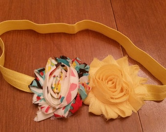 "17.5"" (18mo+) yellow/multicolored shabby flower headband"