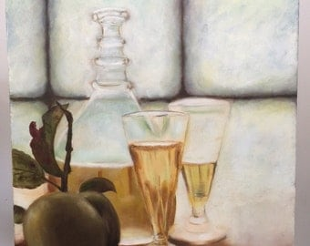 "Oil Painting On Canvas Treats by the Window By Miri Baruch, Size: 19.6 "" x 23.6"" (50 cm x 60 cm)"