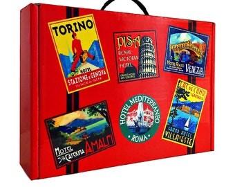 Retro Style Suitcase Gift Boxes - Italy -    Pack of 10