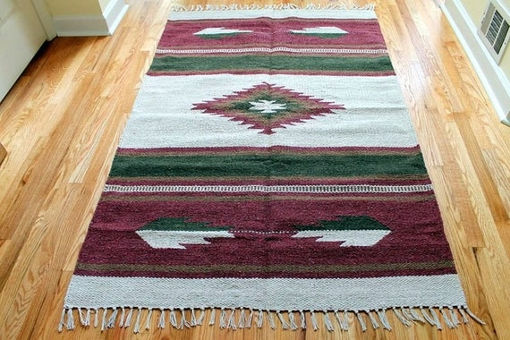 SALE 4x6 feet Vintage 100% Cotton Southwestern Hand Woven Kilim Flatweave Rug Tapestry Navajo Style Native American New Old Stock