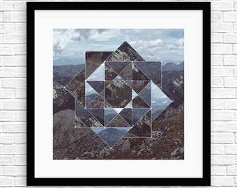 Square Matrix Mountains II - Sacred Geometry - Framed Art - SR-SM-M-M5