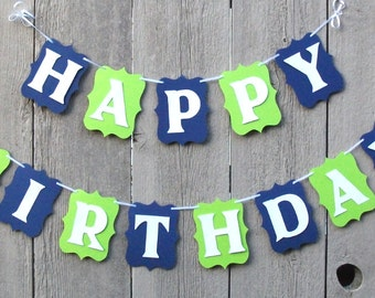 Happy Birthday banner, Birthday banner, Seattle Seahawks football party, Seahawks decorations, Personalized name banner, Custom name sign