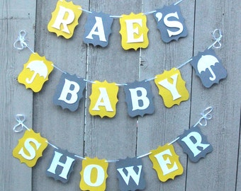 Baby Shower banner, Personalized baby shower banner sign, Baby shower decorations, Yellow and Gray, Baby banner, Baby garland