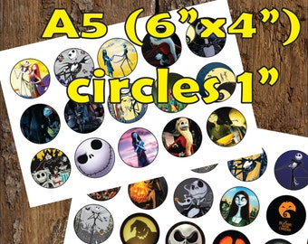 30 Nightmare Before Christmas Halloween Digital Party Stickers Circles size 1'' sheet A5 (4''x 6'') Bottle Cap image Cupcake Toppers Pumpkin