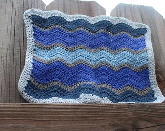 Spa Washcloth, Chevron Crochet Washcloth, Cotton- Linen Washcloth, Blue Washcloth, Blue, Grey