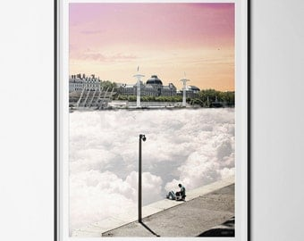 Poster / poster A3 - digital - surrealism - Lyon - France - sunset photo-collage