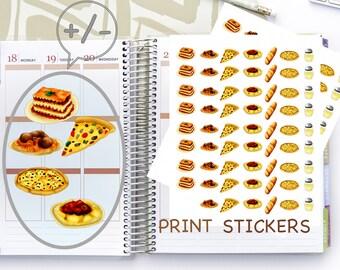 56 Italian Food Stickers, Pasta Print Stickers, Pizza Stickers for Planner, Lasagna Planner Stickers, Ravioli Stickers, Spaghetti Stickers