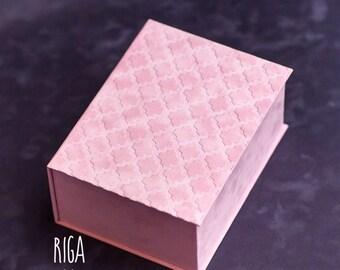 Pink suede box