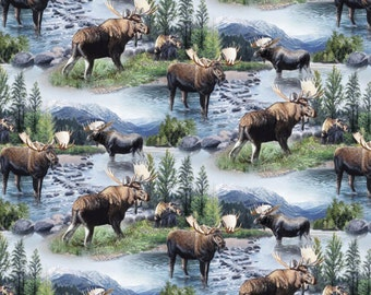 Wildlife Fabric- Wild Wings Lake Massepequa Moose Fabric From Springs Creative