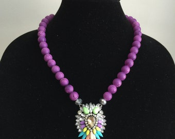 Purple Beaded Starburst Necklace