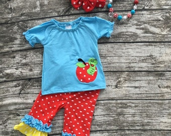 Girls Apple Worm polka dot outfit (back to school ) infants to size 3T, 4T, 5T