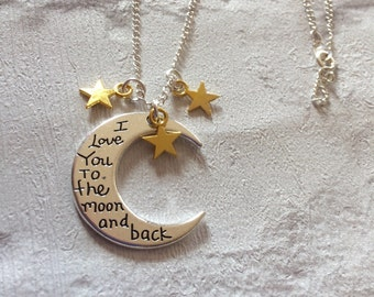 Moon And Back Silver Necklace, Silver Necklace, Sterling Silver Necklace, Moon Pendent, I Love You To The Moon And Back Necklace,