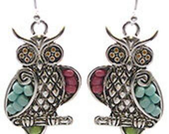 Owl, Seed Bead Earrings