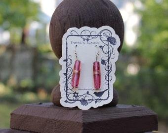 Long Raspberry Glass Bead SS Earrings