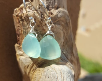 Aqua chalcedony sterling silver wire wrapped earrings