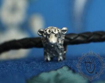 Lamb by Sashini beads design 925 sterling silver bead charm  fits european bracelet jewelry