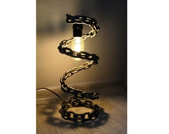 Table / Desk lamp - welded chain, Rustic lamp