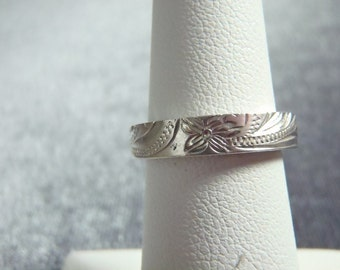 Sterling Silver Etched Band Ring RR5