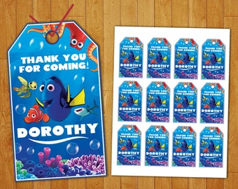 Finding Dory Favor Tags, Finding Dory Thank You Tags, Finding Dory Tags, Finding Dory Tag Gift, Finding Dory Tag Printable, Dory Tags, DIY