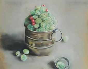 "Original pastel painting ""Gooseberry"" Still life"