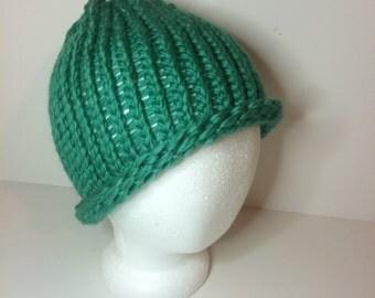 Teal Wool Crochet Beanie Winter Hat