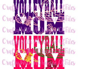 Volleyball Mom SVG Sports Mom SVG Volleyball SVG Mom svg Sports svg Sports Knockout svg Kockout svg Vector png dxf jpg Digital Download