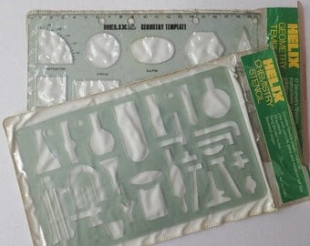 Vintage Chemistry stencil. Helix drawing stencil. Old school stationery. Made in England