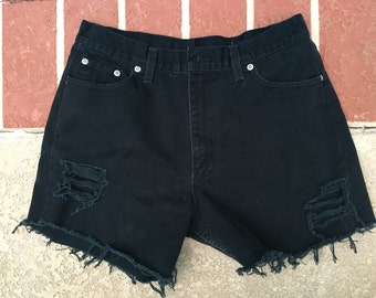 size 10 cut off black jean high waisted shorts