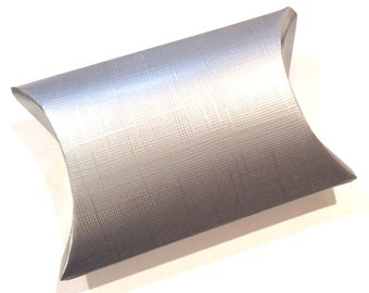 silver embossed linen textured pillow box favor gift wedding diy supplies