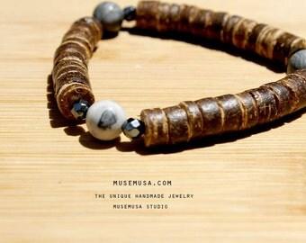 ZETTA-Brown coco wood bracelet with howlite&hematite