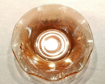 Iridescent Marigold Bowl in the Iris and Herringbone Pattern by Jeannette Glass Company