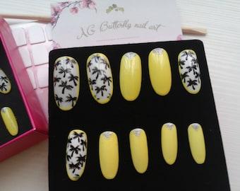 Kit nail nail art Palm, long oval