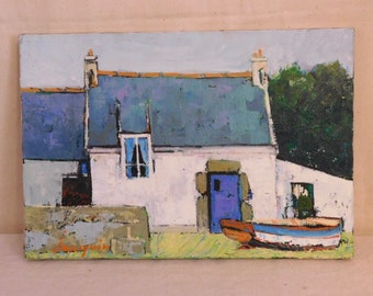 "Oil painting of ""St Cado"", Brittany"