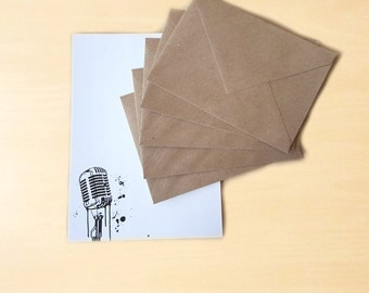 Stationery Letter Writing Set with kraft envelopes - Vintage Microphone