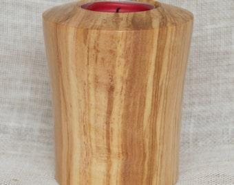 Olive wood tea light holder
