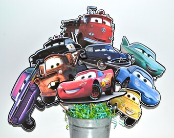 Disney Cars Set of 9 Centerpiece Picks (DOUBLE-SIDED)
